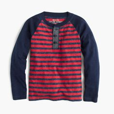 Boys' long-sleeve striped henley T-shirt : Stripes & Novelty | J.Crew