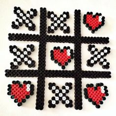 Tic-Tac-Toe magnets perler beads by dinnercrewcrafts
