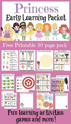 This free 30 page printable princess packet includes many fun learning activities, games and exercises that your little princess will be sure to love.