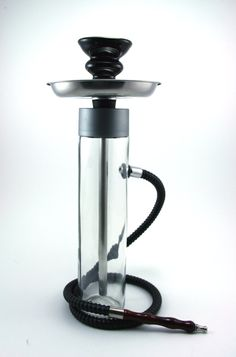 THIS HOOKAH IS PICTURED WITH A BLACK HOSE AND BLACK BOWL BUT WE HAVE OTHER COLORS AVAILABLE  NOTE:****when purchasing, in notes to the buyer please indicate what color hose and bowl you would like!****    This custom made hookah is truly one of a kind. It is made out of a 11 ¾ inch tall glass bottle with a diameter of 2 ½ inches. It is fitted with my newly designed 10 ½ inch by 3/8 inch outside diameter stainless steel stem that will ensure a smooth smoke throughout your entire hookah s...