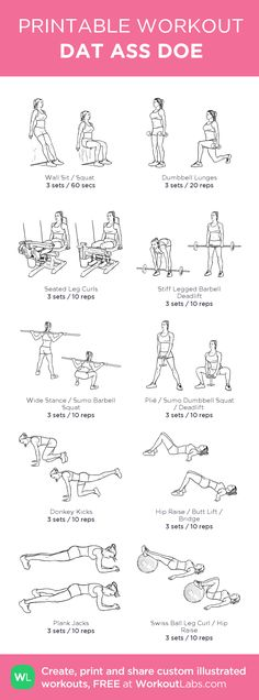 DAT ASS DOE: my custom printable workout by - Pinuhouse - Health and Fitness - Printable Workouts, At Home Workouts, Gym Leg Workouts, Gym Machine Workouts, Workout Plans, Weighted Leg Workout, Leg And Back Workout, Gym Workouts For Women, Body Fitness