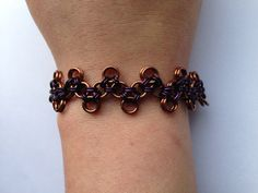 Brown and Purple Zig Zag Chainmaille Bracelet on Etsy, $35.00 CAD