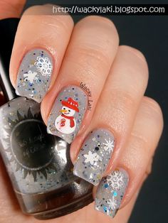 Wacky Laki: Snow Woman...  | See more nail designs at http://www.nailsss.com/nail-styles-2014/