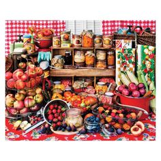 View Springbok Puzzles' selection of 1000 Piece Jigsaw Puzzles for Sale. All of the 1000 piece puzzles are made in the USA and features interlocking pieces. Rachel Perry, Red Tablecloth, Fruit Plants, Puzzle Pieces, Farmers Market, Fresh Fruit, Preserves, 1000 Piece Jigsaw Puzzles, Harvest