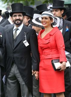 Posted on June 1, 2013 by HatQueen....Sheikh Mohammed bin Rashid al Maktoum, ruler of Dubai and his junior wife, Princess Haya Bint Al Hussein, Princess of Jordan, Sheikha of Dubai, also attended the Epsom Derby today.