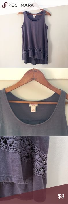 Hi-low lace tank in purple/grey tone EUC. *not FP, just listed for exposure* Free People Tops Tank Tops