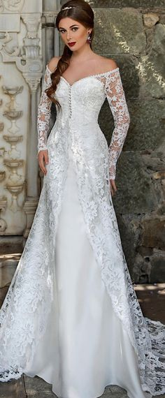 Graceful Lace & Satin Off-the-Shoulder Neckline Mermaid Wedding Dresses with Beadings
