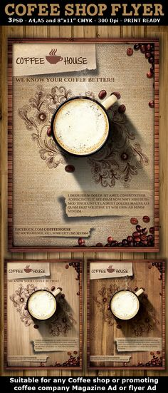 Coffee Shop Promotion Flyer Template #Design Download: Http