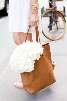 Leather Tote + White Flowers .