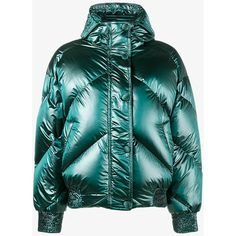 Ienki Ienki Green Dunlope Puffer Jacket With Hood (357.895 HUF) ❤ liked on Polyvore featuring outerwear, jackets, green, hooded jacket, puffy jacket, green puffer jacket, nylon puffer jacket and green hooded jacket