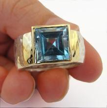 Hadar Jewelry Handmade 9k Gold 925 Silver Blue Topaz Ring
