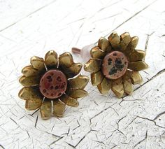 Sunflower Stud, Post Earrings Copper and Brass Metalwork - MADE TO ORDER 30$