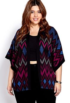Forever 21+ - A woven kimono featuring a zigzag pattern. Open-front. Oversized short sleeves. Contrast banded trim. Semi-sheer. Unlined. Lightweight.