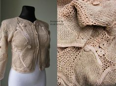 Ivory Beige Crochet Top Irish Crochet Freeform by MARTINELI