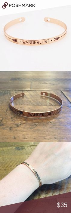 Wanderlust Cooper Bangle Bracelet!! Beautiful and fashionable Wanderlust copper bangle bracelet! Material: Copper plated metal alloy! Perfect for a concert, back to school, or every day jewelry! Boutique Jewelry Bracelets