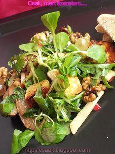 MENNYEI ŐSZI SALÁTA GRILLEZETT SAJTTAL ÉS KÖRTÉVEL Sprouts, Spinach, Salads, Dishes, Vegetables, Food, Diabetes, Drinks, Diet