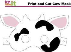 Printable cow mask for Chick Fil A's Cow Appreciation Day Printable Cow Mask, Chik Fil A Cow, Projects For Kids, Crafts For Kids, Cow Appreciation Day, Cow Craft, Cow Ears, Farm Crafts, Toddler Fun