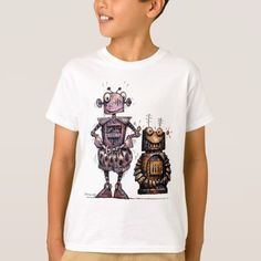 Shop Two Funny Little Robots - Kid's Bro-Bots! T-Shirt created by StrangeStore. Personalize it with photos & text or purchase as is! Robots For Kids, Funny Illustration, Funny Kids, Bro, Fitness Models, Shop Now, Tees, Casual, Sleeves