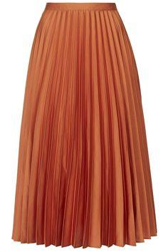 Photo 1 of Satin Pleated Midi Skirt