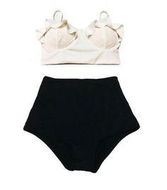 High Waist Pink Ruffle Top Swimwear - Plus Size Available