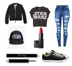 """""""#FanGirl #StarWars"""" by unicorn2006 on Polyvore featuring WithChic, Hollister Co., Converse and NARS Cosmetics"""