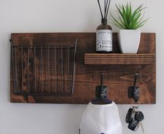 Rustic Entryway Coat Rack Shelf with Magazine Basket and Coat | Etsy Entryway Coat Rack, Entryway Shelf, Coat Rack Shelf, Rustic Entryway, Coat Hooks, Mail Organizer Wall, Cool Couches, Barn Wood Projects, Hallway Designs