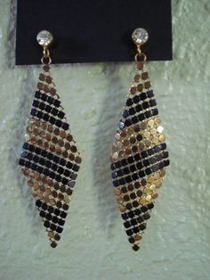 Vintage 1970s Mesh Earrings Chainmaille and by bycinbyhand on Etsy, $32.00