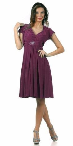 Knee Length Reception Burgundy Dress Flowy V Neck Back Bolero Jacket Teal Bridesmaid Dresses
