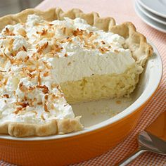 Coconut Cream Pie  ~  When it comes to pie recipes, this classic coconut pie recipe takes the blue ribbon. The use of a refrigerated pie crust makes it easy and the whipped cream makes it stunning. Originally from Southern Living