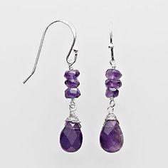 Sterling Silver Amethyst Drop Earrings ~ Again.. I'm lovin' the Purple! <3