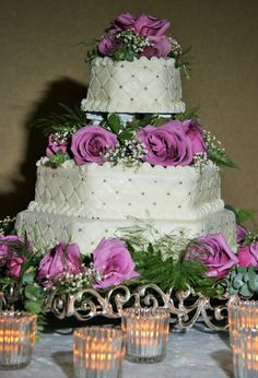 3 Tier Wedding Cake with Columns, Diamond Pattern with Silver Dragee, Purple Roses