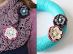 DIY Anleitung: Blüten-Brosche häkeln // fashion diy: how to crochet a flower brooche via DaWanda.com