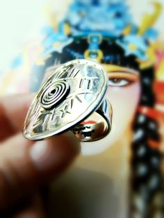 Large Sterling Silver Tribal Ring / Vintage Mexico by PuraPlata