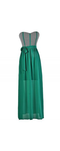 Compare and Contrast Stripe Maxi Dress in Jade  www.lilyboutique.com
