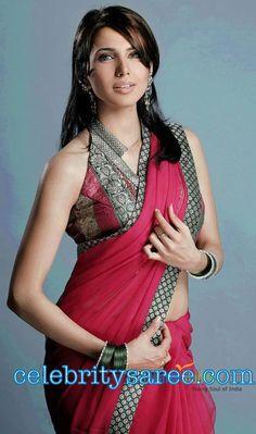 Bollywood Actress Nikitha in Red Banarasi Patch Work Saree Paired with Collar Neck Pattern Blouse | Saree Blouse Patterns