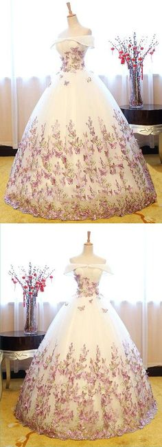 White tulle off shoulder long strapless lace formal prom dress, evening dress M3627