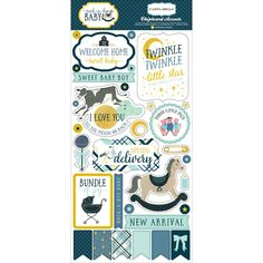 "Echo Park Paper Rock-A-Bye Baby Boy Chipboard Accents 6""X13""-"