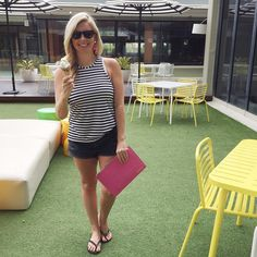 After bunking down at @qtgoldcoast last night Katy and I hit the Bazaar breakfast buffet (where I got this ice cream because ... holidays) before riding from Broadbeach to @bsktcafe at Nobby's to refuel. . . . @targetaus singlet | @cottonon shorts | @missmonogram_official Victoria clutch (gifted) | flamingo earrings from @katy_potaty . . . #KPandBdotheGC #cutiesatQT #surfersparadise #teamstripes…