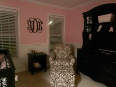 nursery-love the pink and white walls