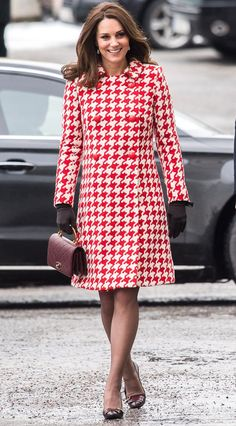Kate Middleton in a red houndstooth Catherine Walker coat