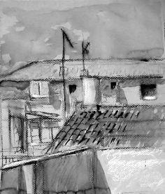 Paisaje urbano.  Tinta y pastel.  Amparo Ramis