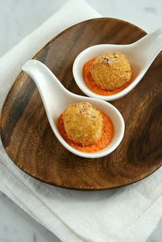 Fried Mozzarella Balls with Truffle Salt and Red Pepper Sauce Authentic Suburban Gourmet: Appetizer