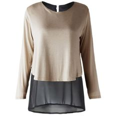 Stylish Scoop Neck Long Sleeve Chiffon Splicing Blouse For Women
