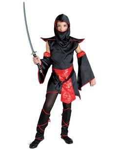 Disfraz maestro ninja negro y rojo niña: Este disfraz de ninja es para niña e incluye vestido, capucha, cinturón, espinilleras y manguitos (zapatos, medias y sable no incluidos).El vestido es de tejido satinado negro. No tiene...