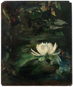 """""""Water Lily,"""" John La Farge, 1872, oil on panel, 12 1/8 x 10"""", Mead Art Museum at Amherst College."""
