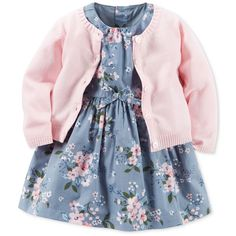 Carter's Baby Girls' 2-Pc. Cardigan Floral-Print Dress Set ❤ liked on Polyvore featuring baby girl and kids