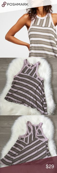 Free People We The Free Linen Blend Thursday Tank Size small! Measurements in photos, could fit an XS as well. Style No. 41790817  racerback tank with striped print with an asymmetrical hem. cotton-Linen blend with a distressed hem. Offers welcome We The Free Tops Tank Tops