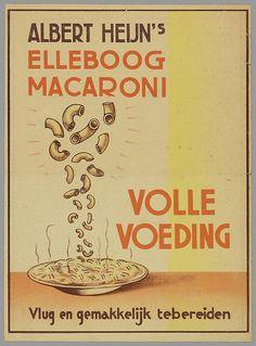 Albert Heijn's Elleboog Macaroni. Volle voeding - Vintage advertising Dutch