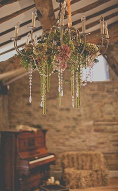 Chandelier floral display by Leafy Couture photography James Melia
