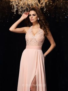 A-Line/Princess Halter Sleeveless Lace Sweep/Brush Train Chiffon Dresses - Prom Dresses - Occasion Dresses - QueenaBelle.com